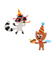 flat animals party set isolated vector image vector image