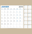 french calendar 2019 vector image vector image