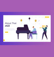 fun jazz performance concept landing page musician vector image vector image