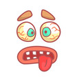 funny face with bulging eyes and sticking out vector image