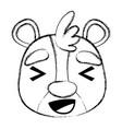 grunge cheerful bear head wild animal vector image vector image