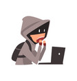 hacker in hoodie and mask trying to cyber attack vector image