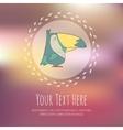 Hand drawn cartoon bird on blurred vector image vector image