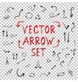 handdrawn handmade arrow set isolated vector image