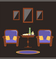 interior of the living room with two armchairs and vector image vector image