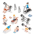 Isometric gym workout flat set Men and vector image vector image
