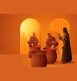 jesus turns water into wine vector image vector image