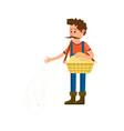 male farmer seeding icon vector image
