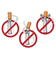 No smoking signs with cigarettes vector image vector image