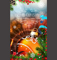 orange christmas bauble with sparkles and fir vector image vector image
