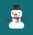 pixel art snowman vector image