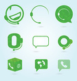 Polygonal icons for call center or hotline support vector image vector image