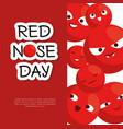 red nose day with red nose clown faces vector image
