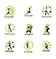 set excited abstract person with raised hands up vector image vector image