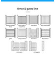 set fence and gates lines vector image vector image