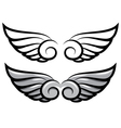 set two pairs of wings Black and colored vector image