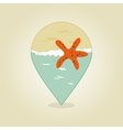 Starfish pin map icon Summer Beach Sun Sea vector image vector image