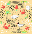 summer beach vacation seamless pattern seagulls vector image vector image