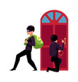 thief burglar breaking in house and walking away vector image vector image