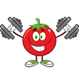 Tomato Cartoon with Dumbbells vector image vector image
