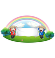 Two kids at the hill holding an empty banner vector image