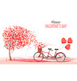 valentines day background with tandem bicycle vector image vector image