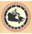 vintage label with map canada vector image