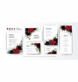 wedding red and green floral card imvite set vector image