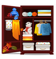 wooden wardrobe with objects on the autumn theme vector image vector image