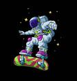 astronaut play skateboard vector image