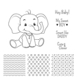 Baby elephant outline design with seamless pattern vector image