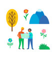 camping couple using map to find way isolated vector image vector image