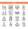 candle icons set in thin line style vector image vector image