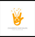 children s hair salon logo funny logo smiling vector image vector image