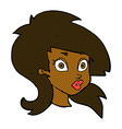 comic cartoon pretty surprised woman vector image