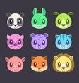 cute cartoon colorful faces of different animals vector image vector image