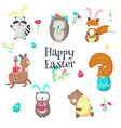 cute funny easter animals isolated vector image vector image
