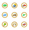 different vehicle icons set cartoon style vector image vector image