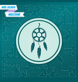 dreamcatcher icon on a green background with vector image