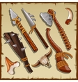 Equipment of a hunter big set of ancient weapons vector image