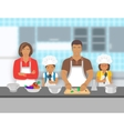 Family with kids cooking together at kitchen flat vector image vector image