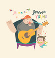 father playing guitar music to his daughter vector image vector image