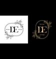 floral frame for de initial letter vector image vector image
