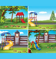 four scenes with playground vector image vector image