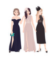 group of young women in elegant evening dresses vector image vector image