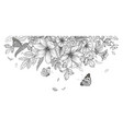 hand drawn wild flowers and flying butterflies vector image vector image