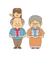 happy grandparents with gift boxes holding her vector image