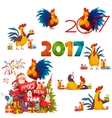 Happy New Year 2017 banner with Santa Claus and vector image vector image