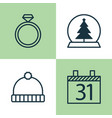 holiday icons set collection of magic sphere vector image vector image