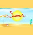 horizontal summer background with sun umbrella vector image vector image